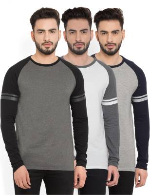 Billion PerfectFit Solid Men Round Neck Grey, White T-Shirt