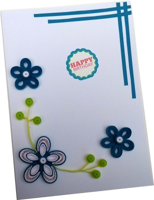Varsha Creations Handmade Quilled Happy Birthday Greeting Card - Colourful Flowers | Best Gift for Friends and Family Members, 21x15 Cm Greeting Card(Blue, Pack of 1)  available at flipkart for Rs.285