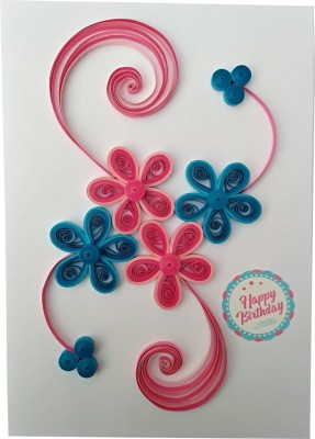 Varsha Creations Handmade Quilled Happy Birthday Greeting Card - Colourful Flowers | Best Gift for Friends and Family Members, 21x15 Cm Greeting Card(Pink, Blue, Pack of 1)  available at flipkart for Rs.285