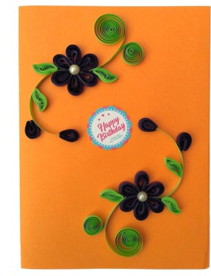 Varsha Creations Handmade Quilled Happy Birthday Greeting Card - Colourful Flowers | Best Gift for Friends and Family Members, 21x15 Cm Greeting Card(Orange, Pack of 1)  available at flipkart for Rs.285