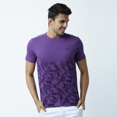 Huetrap Printed Men's Round Neck Purple T-Shirt