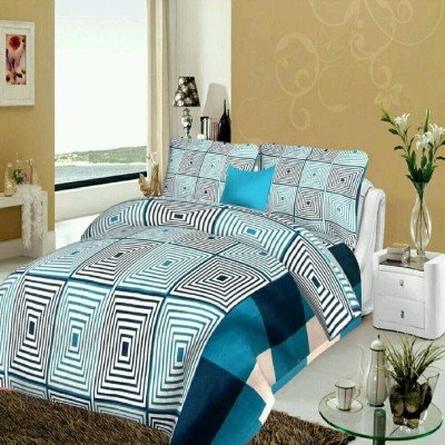 DURGA CREATION 150 TC Cotton Double King Cartoon Bedsheet(1 Bedsheet With 2 Pillow Covers, Blue)
