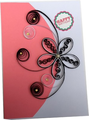Varsha Creations Handmade Quilled Happy Birthday Greeting Card - Colourful Flowers | Best Gift for Friends and Family Members, 21x15 Cm Greeting Card(Multicolor, Pack of 1)  available at flipkart for Rs.285