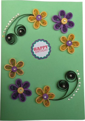 Varsha Creations Handmade Quilled Happy Birthday Greeting Card - Colourful Flowers | Best Gift for Friends and Family Members, 21x15 Cm Greeting Card(Green, Pack of 1)  available at flipkart for Rs.285