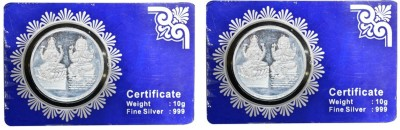 Kataria Jewellers Lakshmi Ganesha S 999 10 g Silver Coin Pack of 2 Kataria Jewellers Coins   Bars