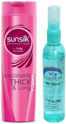 sunsilk Lusciously Thick & Long Shampoo 180ml with Pink Root Hair Serum(Set of 2)