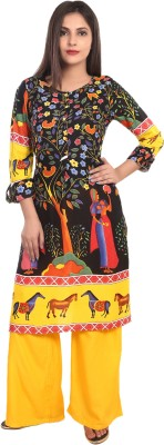 TEEJ Applique, Animal Print, Floral Print Women Straight Kurta(Multicolor)