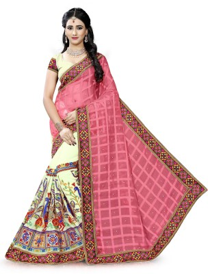 Vishnu Creations Embroidered Fashion Georgette Saree(Pink)