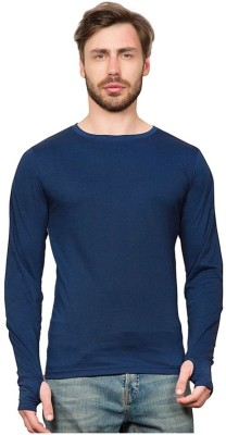 PAUSE Solid Men's Round Neck Blue T-Shirt