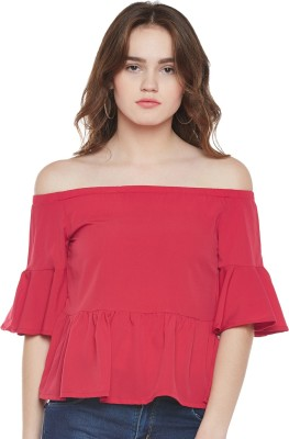 Popnetic Casual Bell Sleeve Solid Women Red Top