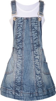 09dd4f8ed Naughty Ninos Dungaree For Girls Casual Floral Print Cotton Blue ...