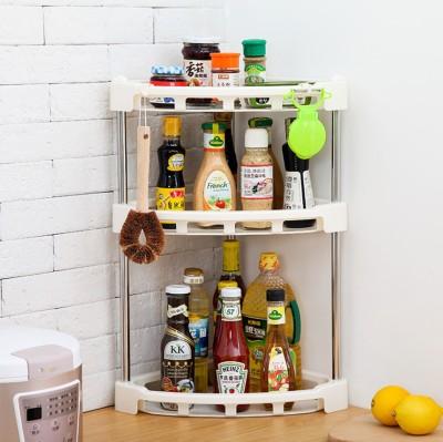 SYGA 3 Layer Storage Rack Kitchen Platform Corner Organizer Plastic Kitchen Rack(White)
