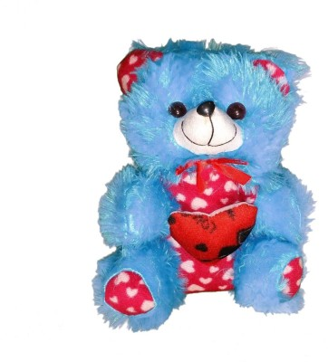 CJ Stuffed Soft Cute Teddy Bear with heart Message Best Festival gift for kids 25 cm  - 25 cm(Blue, Red)  available at flipkart for Rs.199