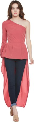 Popnetic Casual Bell Sleeve Solid Women Pink Top