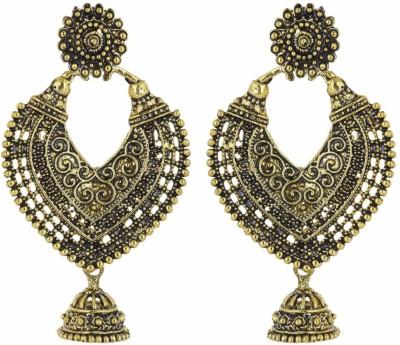 IDEAZ Ideaz Oxidised golden heart shape hoop bali with cute jhumki alloy studd earrings Alloy Chandelier Earring