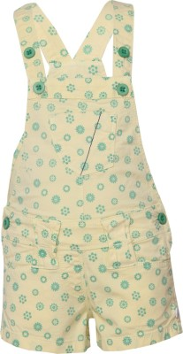 Tales & Stories Dungaree For Girls Casual Printed Cotton Blend(Yellow, Pack of 1) at flipkart