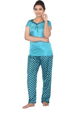 Fabme Women Polka Print Light Blue Top & Pyjama Set