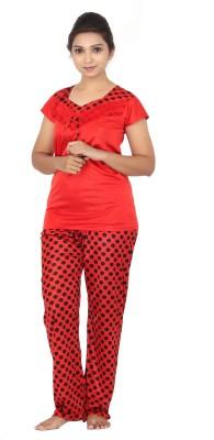 Fabme Women Solid Purple Top & Pyjama Set