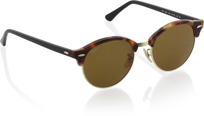 Ray-Ban Clubmaster Sunglasses(Brown) at flipkart