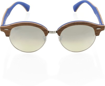 Ray-Ban Round, Clubmaster Sunglasses(Silver) at flipkart
