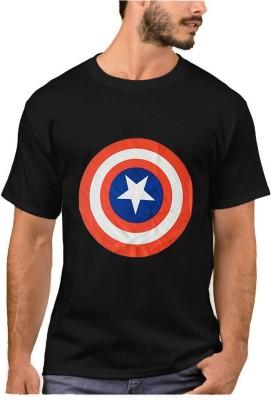 Smartees Printed Men's Round Neck Black T-Shirt