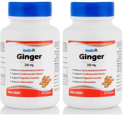 HealthVit Ginger Powder 250 Mg 60 Capsules (Pack Of 2)(60 No)  available at flipkart for Rs.199