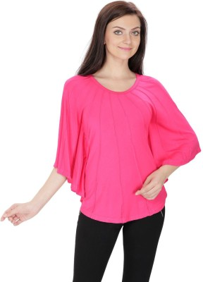 RITU DESIGNS Party Balloon Sleeve Solid Women's Red Top