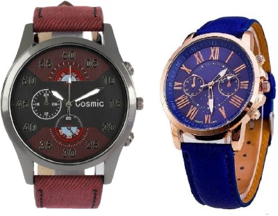 c219bd573 26% OFF on COSMIC ARTIFICIAL CHRONOGRAPH DIAL MAROON JEANS STRAP MEN WATCH  WITH GENEVA PLATINUM BLUE LEATHER STRAP LADIES PARTY WEAR Watch - For  Couple on ...