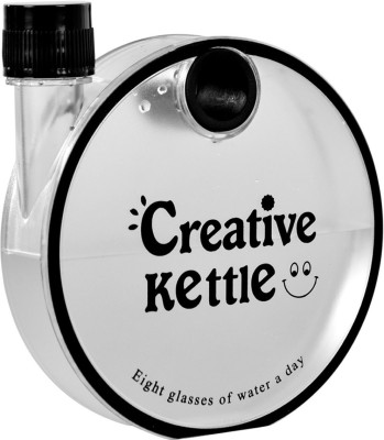 ReTrack Creative kettle Round Flat Snail Plastic Notebook Water 350 ml Bottle(Pack of 1, Black)  available at flipkart for Rs.199