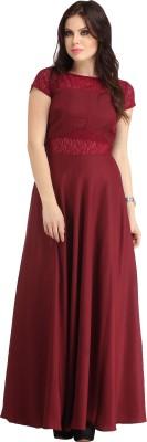 Raas Pret Women Empire Waist Maroon Dress