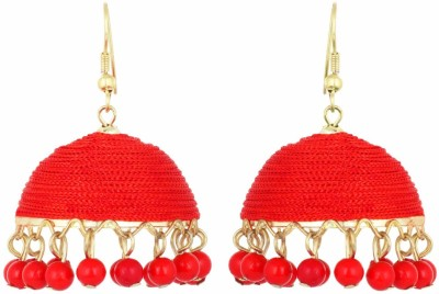 IDEAZ Ideaz stunning lightweight silk thread jhumka hoop earrings with red pearls Alloy Jhumki Earring  available at flipkart for Rs.149