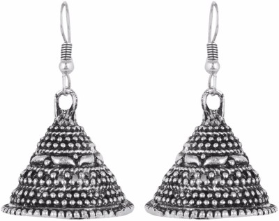 IDEAZ Ideaz Silver oxidised metal bell shaped jhumka alloy earrings Alloy Jhumki Earring  available at flipkart for Rs.149