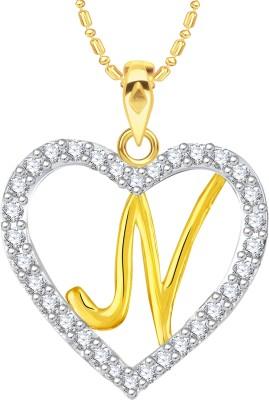"VK Jewels Alphabet \""N\"" in Heart 18K Yellow Gold Cubic Zirconia Alloy Pendant"