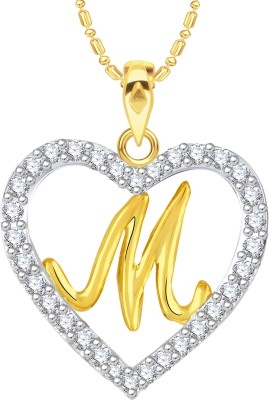 """VK Jewels Alphabet \""""M\"""" in Heart Gold-plated Cubic Zirconia Alloy Pendant"""