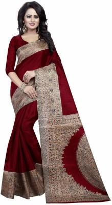 Ishin Printed Kalamkari Art Silk Saree(Multicolor)
