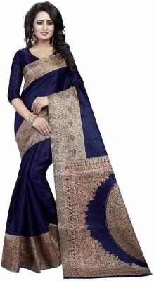 Ishin Printed Kalamkari Art Silk Saree(Blue) 52aba8c5b