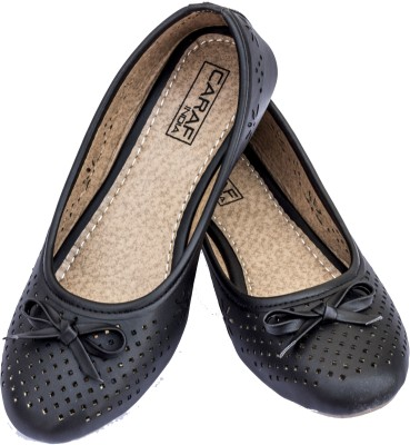 Caraf India Caraf India Trendy Cut Work Ballet Flats With Bow (CF-Black 6-41) Bellies For Women(Black)