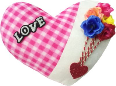 Aparshi (PACK OF 4) Chek heart stuffed cushion soft toy J225 - 72 cm(Pink, White)