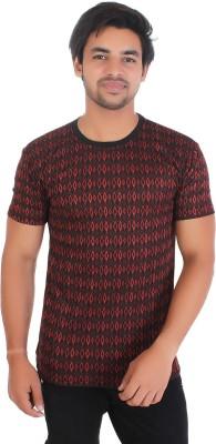Metcare Checkered Men Round Neck Red, Black T-Shirt