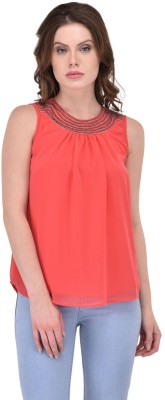 RITU DESIGNS Party Sleeveless Solid Women's Red Top