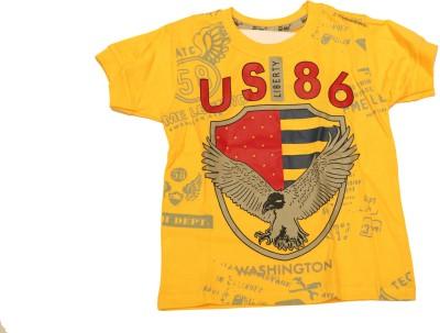 Cuddlezz Boys Printed Cotton T Shirt(Yellow, Pack of 1) Flipkart