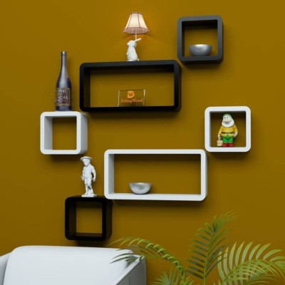 28 Off On Craftonline Wood Rack Black And White Wall Wooden Shelf Number Of Shelves 6 Flipkart Paisawapas