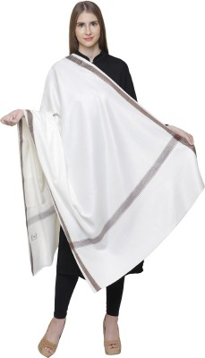 Kashmiri Handloom Shawl Wool Woven Women's Shawl(White)