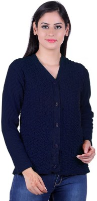 eWools Self Design V-neck Casual Women Dark Blue Sweater