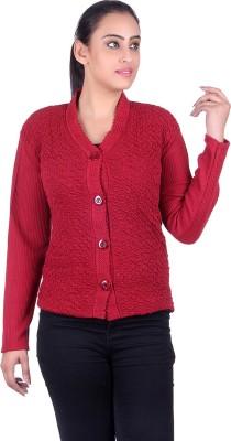 SatSun Women Button Self Design Cardigan