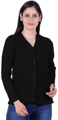 eWools Self Design V-neck Casual Women Black Sweater