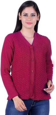 eWools Self Design V-neck Casual Women Purple Sweater