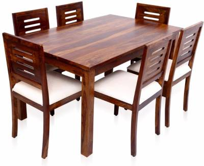 Home Edge Karent Upholstery Sheesham Solid Wood 6 Seater Dining Set  (Finish Color - Teak)