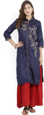 Biba Self Design Women Straight Kurta(Blue)