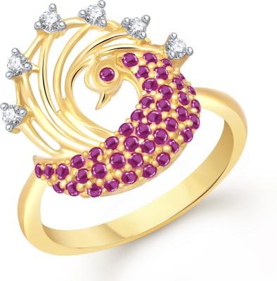 Divastri Charming Mayur Alloy Cubic Zirconia 18K Yellow Gold Plated Ring